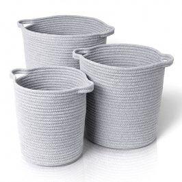 Blomus Set bavlněných košů Boa 3 kusy šedá