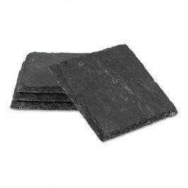 Boska Sada 4 čtvercových břidlicových tácků na tapas/podložek pod sklenice Slate