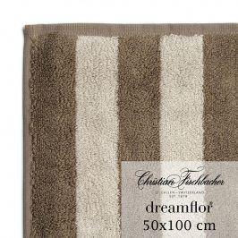 Christian Fischbacher Ručník 50 x 100 cm pruhovaný písková/hnědá Dreamflor®, Fischbacher