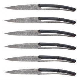 deejo Sada steakových nožů 6dílná PaperStone®, titanium Blossom