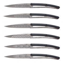 deejo Sada steakových nožů 6dílná PaperStone®, titanium Art Deco