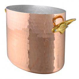 MAUVIEL Měděná tepaná chladicí nádoba na sekt oválná Ø 26 cm s bronzovými uchy