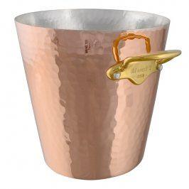 MAUVIEL Měděná tepaná chladicí nádoba na sekt s bronzovými uchy Ø 20 cm
