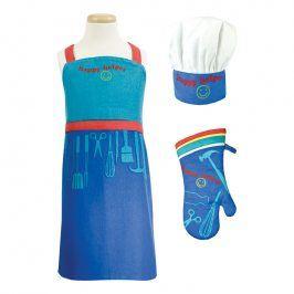 MÜkitchen Dětská sada zástěra, chňapka a kuchařská čepice MiniMÜ® Happy Helper