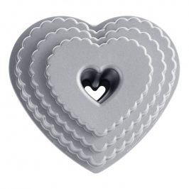 NordicWare Forma na bábovku patrové srdce Tiered Heart Bundt® stříbrná, Nordic Ware