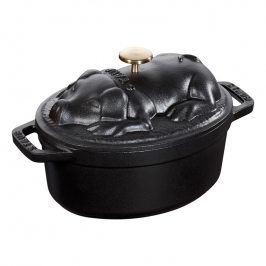 Staub Oválný hrnec s poklicí ve tvaru prasátka, černý V 1,0 l
