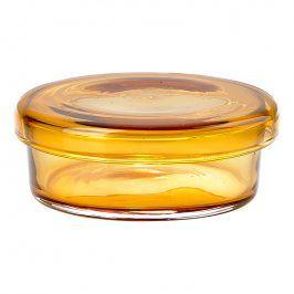 ZONE Skleněná miska s víčkem velká amber DELI