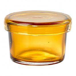 ZONE Skleněná miska s víčkem malá amber DELI
