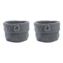 ZONE Sada 2 úložných košíků kulaté malé grey