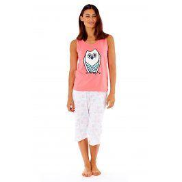 Dámské bavlněné pyžamo Owl Coral  růžovobílá