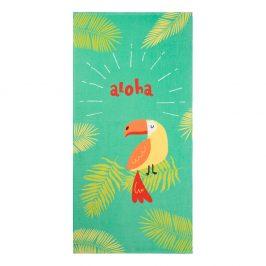 Dětská plážová osuška Papoušek 70x140 cm zelená