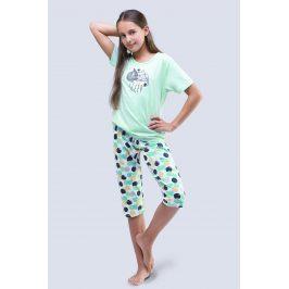 Dívčí pyžamo Cats aqua  zelená