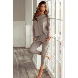 Dámské elegantní pyžamo Alison  mocca