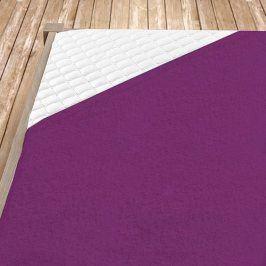 Napínací froté prostěradlo tmavě fialové Jednolůžko Bavlna - froté