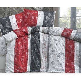 Povlečení Carmen šedočervené 140x200 jednolůžko - standard bavlna