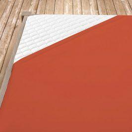 Napínací jersey prostěradlo terrakotové Jednolůžko Bavlna - jersey