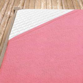Napínací froté prostěradlo světle růžové Jednolůžko Bavlna - froté