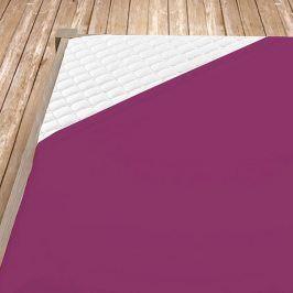 Napínací jersey prostěradlo tmavě fialové Jednolůžko Bavlna - jersey