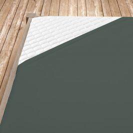 Napínací jersey prostěradlo tmavě šedé Dvoulůžko Bavlna - jersey