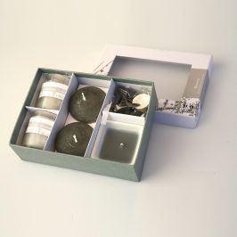 Dárková sada svíček 18 x 13 cm šedá
