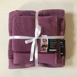 Dárková sada ručníků mikrobavlna fialová Set Dvoudílný set
