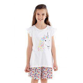 Dívčí pyžamo Polly krátké bílé  barevná