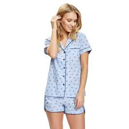 Luxusní pyžamový komplet Space  světlemodrá