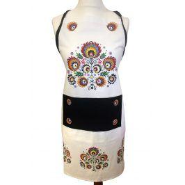 Kuchyňská zástěra Folk bílá 62x82 cm bavlna