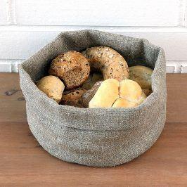 Košík na pečivo lněný M Výška: 14 cm, průměr: 20 cm béžová