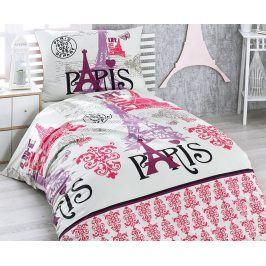 Povlečení Paris lila 140x220 jednolůžko - prodloužené Bavlna