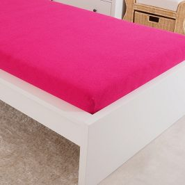 Napínací prostěradlo froté tmavě růžové Dvoulůžko - standard Bavlna - froté