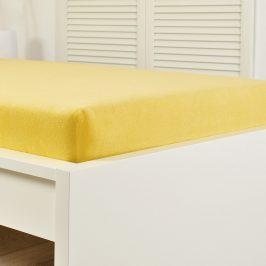Napínací prostěradlo froté žluté Jednolůžko Bavlna - froté