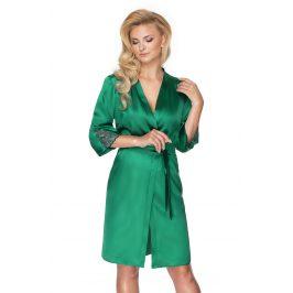 Dámský saténový župan Emerald  zelená