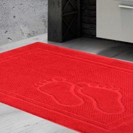 Koupelnová předložka Feet červená 50x70 cm bavlna