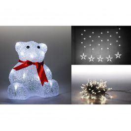 Marimex | Sada LED osvětlení (Medvěd + světelný řetěz hvězdy + světelný řetěz 100 LED - studená bílá) | 19900054
