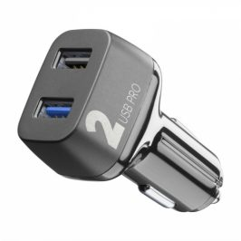 CellularLine Car Multipower 2 PRO, Smartphone Detect, 2 x USB, 36W (CBRUSB2QC36WK)