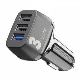 CellularLine Car Multipower 3 PRO, Smartphone Detect, 3 x USB, 42W (CBRUSB3QC42WK)