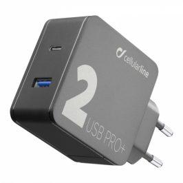 CellularLine Multipower 2 PRO+, Smartphone Detect, USB-C PD, USB, QC 3.0, 36W (ACHUSB2QCPD36WK)