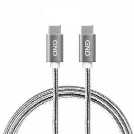 Kabel GND USB-C / USB-C 3.1, PD, 2m, opletený, šedý (USBCC200MM01)