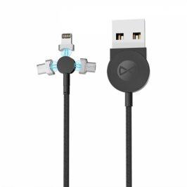 Forever Core 3v1 magnetický, USB/Micro USB, Lightning, USB-C, 1m