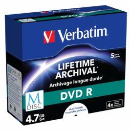 Verbatim DVD-R M-Disc 4,7GB, 4x, printable, jewel box, 5ks (43821)