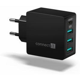 Connect IT Fast Charge 3x USB + 1x USB-C, 4,8A s funkcí rychlonabíjení (CWC-4060-BK)
