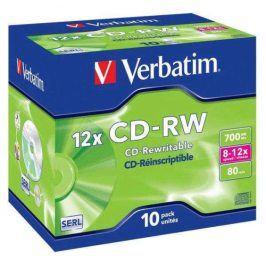 Verbatim CD-RW 700MB/80 min. 8-12x, jewel box,10ks (43148)