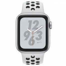 Apple Series 4 GPS 40mm pouzdro ze stříbrného hliníku - platinový/černý sportovní řemínek Nike (MU6H2HC/A)