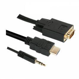 GoGEN HDMI / VGA vč. Jack 3,5mm, 1,5m, pozlacený (VGAHDMIJACK150)
