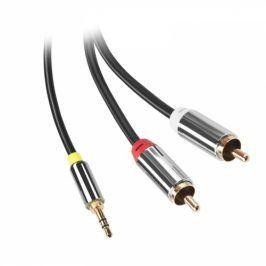 GoGEN Jack 3,5mm / 2x Cinch, 5m, pozlacené konektory (CINJACK500FM01)