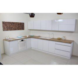 Rohová kuchyně Maya levý roh 323x203 cm (bílá vysoký lesk/dub)