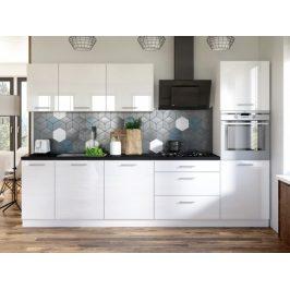 Kuchyně Emilia - 300 cm (bílá vysoký lesk/černá)