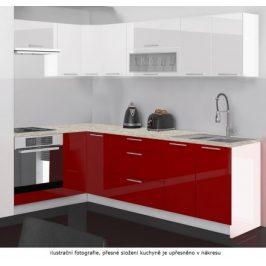 Kuchyně Emilia (bílá/červená vysoký lesk)