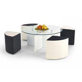 Konferenční stolek Latoya (Bílá/Černo-bílá)